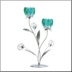 Double Peacock Bloom Candleholder