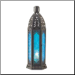 Tall Floret Blue Candle Lanter
