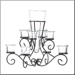 Scrollwork Candle Stand With Vase (SKU: 10015370)