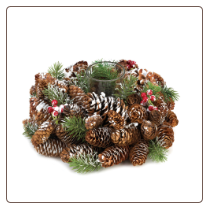 Pine Cone Wreath Candleholder Frosted