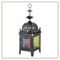 Multicolor Medallion Candle Lantern