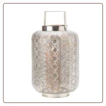 Tall Silver Lace Design Candle