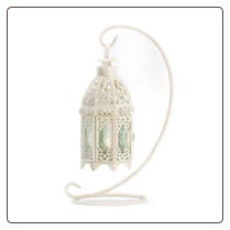 White Fancy Candle Lantern W/ Stand