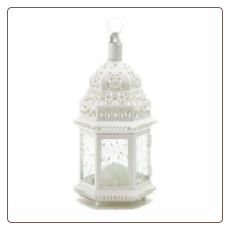 Moroccan Lantern, White, Medium