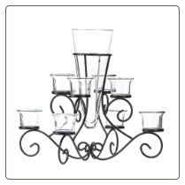 Scrollwork Candle Stand With Vase