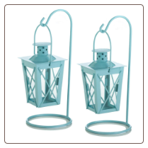 Baby Blue Hanging Railroad Lantern Pair